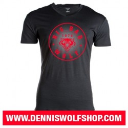 Big Bad Wolf V-Neck T-Shirt / black-red