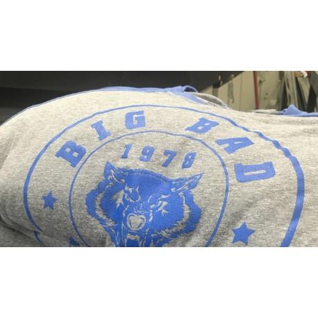 Raglans 3/4 Sleeve Shirt  Color:Premium Heather/blue
